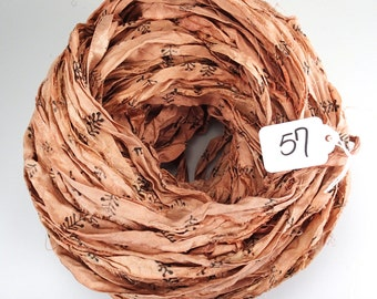 Sari silk Ribbon, Recycled Silk Sari Ribbon, Peach sari ribbon, Block print Sari Ribbon