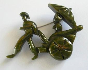 Bakelite Rickshaw Carved Brooch Marbled Green Spinach Bakelite Jewelry RARE