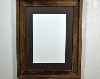 12x16 frame from reclaimed wood with dark patina and 8x12 mat