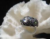 Beautiful Iridescent Moonstone and Peridot Ring Size 9.25