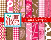 Rodeo Cowgirl Western Digital Paper - Cowgirl Party Paper - Printable Cowgirl Scrapbook Paper - for invites, card making, digital scrapbooks
