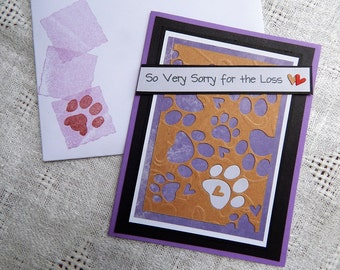 Handmade Pet Sympathy Card: complete card, handmade, balsampondsdesign sympathy card, greeting card,ooak, paw prints, purple