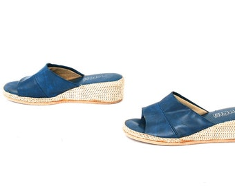 size 8 PLATFORM blue leather 70s 80s WEDGE peep toe slip on SLIDES mules sandals