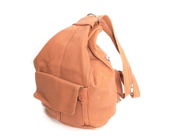TRIANGLE tan leather 80s 90s KNAPSACK hobo grunge convertible BACKPACK