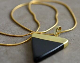Onyx Triangle Pendant Necklace