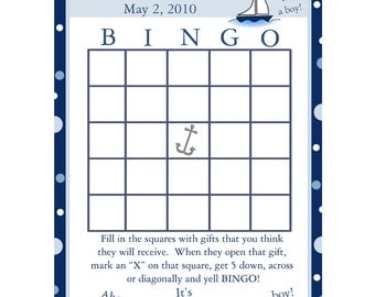 24 Personalized Baby Shower Bingo Game Cards   AHOY ITS A BOY Nautical Theme