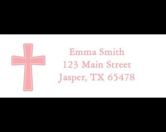30 Cross Return Address Labels - First Communion - Baptism- Christening  -PINK - 1st Communion