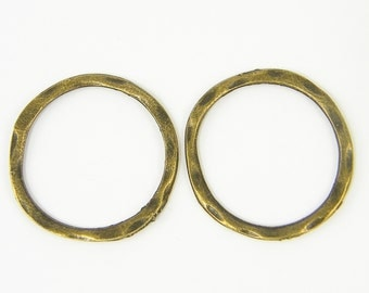 6 Pcs Antique Brass Hoop Earring Findings Round Hammered Jewelry Link Connector Antique Bronze Textured Round Link |AN4-6|6