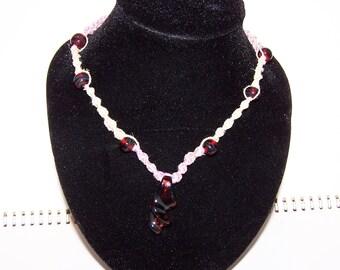 Handmade borosilicate red and black design glass pendant hemp necklace (60)