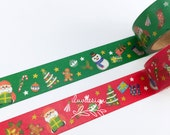 SALE Snowman Washi Tape  (2 rolls) Santa Claus Washi Tape • Merry Christmas Washi TapeChristmas Washi Tape • Holidays Decorative Tapes •