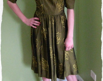 Vintage 1950s Style Olive Green Dress with Chartreuse green cabbage roses ca. 1980s Full Skirt (0017-H)