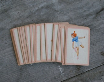 Vintage Bob Elson's Petty Pippins Pin Up playing cards - Redhead Playing Tennis (4282-W)