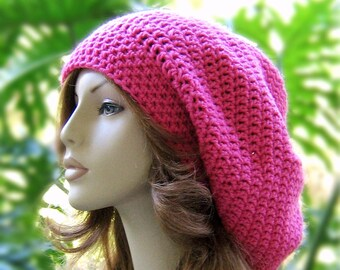 SLOUCHY Crochet HOT PINK Hat  //  Rasta - Snood - Dreadlocks Boho Hat  //  Womens Accessories  //  Winter Long Slouchy ...  Ready-to-Ship