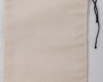 100 count 8x12 inch Cotton MuslinBlack Hem and Black Drawstring Bags