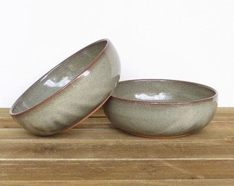 Stoneware Pottery Bowls in Fog Glaze, Rustic Kitchen - Set of 2