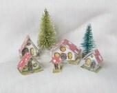 Set of 5 Woodland Gnome Mushroom Toadstool Micro Miniature Glitter Sugar Houses House / Vintage Putz Style Christmas Village Scene