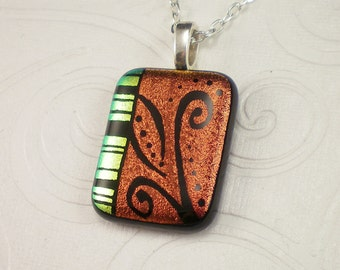 Deep Red Dichroic Hand Etched Fused Glass Pendant