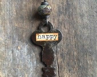 HAPPY - Vintage Key Necklace | Repurposed Key| Upcycled Key Jewelry | Skeleton Key Necklace | Ready to Ship