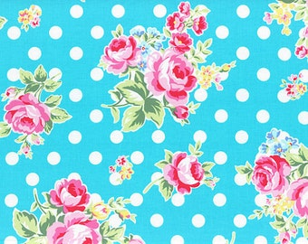 Aqua Turquoise Pink Rose Floral Polka Dot 31268 71 Fabric by Lecien Flower Sugar