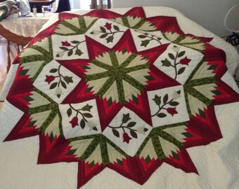 Amish Pattern, Queen Size,  Hand Stitched - Improved Star Quilt