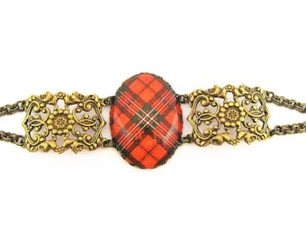 Scottish Tartan Jewelry - Ancient Romance Series - Scott (Red) Clan Tartan Filigree Half Chain Bracelet