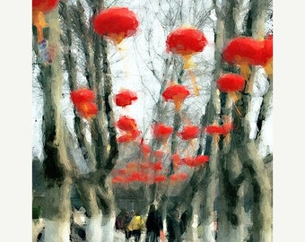 On Sale Landscape, Lanterns, Abstract Modern Art,  Giclee Print, Photomontage, Collage, Painted Photographs, Wall Art, Home Decor,