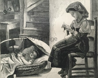 Antique Victorian Newspaper Cover. The Graphic, dated July 20, 1872. wood engraving. La Madre by Walter Goodall