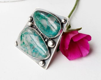 Chrysocolla Double Take Sterling and Stone Ring