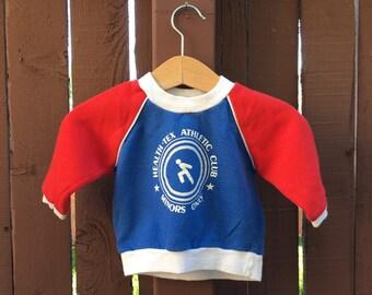 Health Tex Vintage Sweatshirt Primary Colorblock Red Blue 9 mo