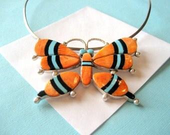 Navajo Spiny Oyster Inlay Ray Adakai Butterfly Pendant on Sterling Choker