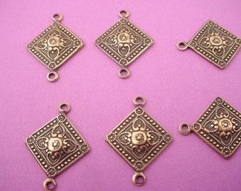 6 brass ox heraldic art nouveau diamond shape connectors 16mm 2 loops