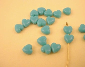 36 vintage resin blue turquoise heart beads 6x6