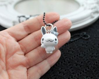White bunny rabbit  Kawaii long Necklace Gothic Lolita black chain