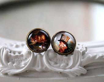 Alice in Wonderland Cheshire Cat Mad Hatter stud earrings sweet lolita feminine