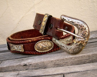 """Vintage Rodeo / tooled leather belt / silvertone CONCHOS, brass, inlaid gold plate / espresso PATINA / bucking bronco, distressed, 36"""""""