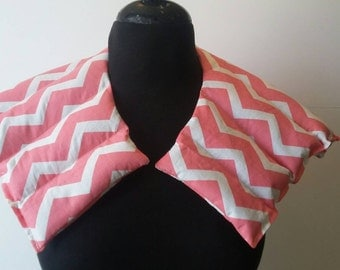 Heating Pad for Neck/ Heat Pack / Flaxseed Rice pack /Unscented or Sented / gift for Women- Coral Chevron