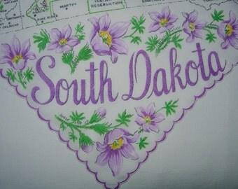 Vintage South Dakota Hanky from  the 1950s - Handkerchief Hankie