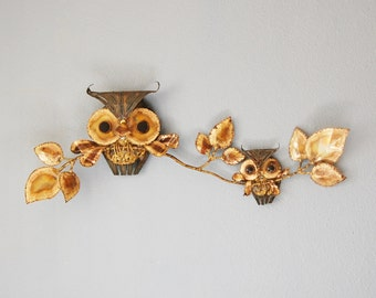 Vintage 1970s Owl Wall Sculpture Metal Home Decor Mom or Dad and Baby Jere esque Retro Art