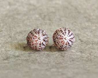 Vintage Silver Filigree Earrings 1950s Round Spain Screw On Dome Shape