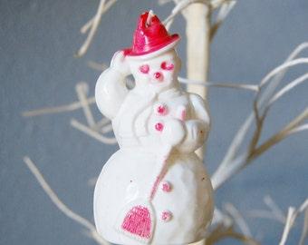 Vintage 1950s Hard Plastic Snowman Ornament Retro Christmas