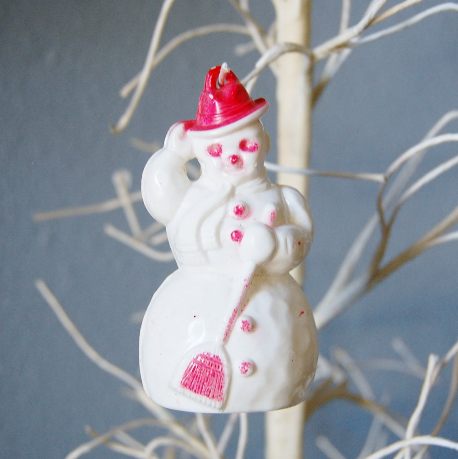 Vintage 1950s hard plastic snowman ornament retro christmas for Plastic snowman