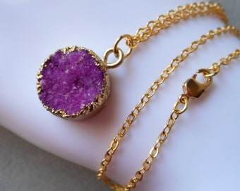 Orchid Druzy Necklace, druzy necklace, orchid purple wild berry gold plated gold edged stone pendant charm quartz raw stone drusy crystal
