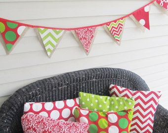 Christmas Burlap Bunting Banner Chevron & Mixed patterns Home Decor and Party