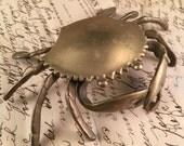 Vintage 1980's Era Brass Crab Covered Ashtray Small Box