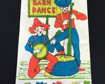 Vintage New with Tags Pure Linen Barn Dance Kitchen Towel