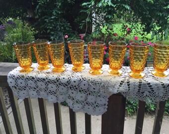 Vintage 1970s Era 8 Amber Ice Tea Block Design Drinking Glasses Glass