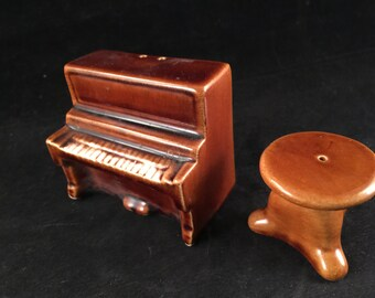 Set of Vintage Brown Piano and Stool Salt and Pepper Shakers