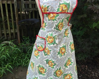 Vintage Grey and Yellow Floral Print Full Apron with Red Piping Trim