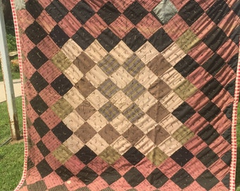 Vintage Hand Tied Old Clothing Trip Around the World Cutter Quilt with Red and White Check Border