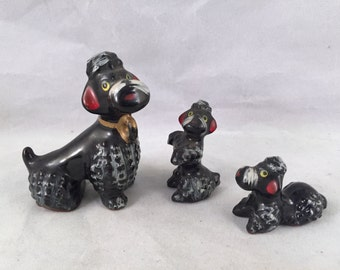 Trio of Vintage Black Poodles Figurines (Momma Dog and Puppies)